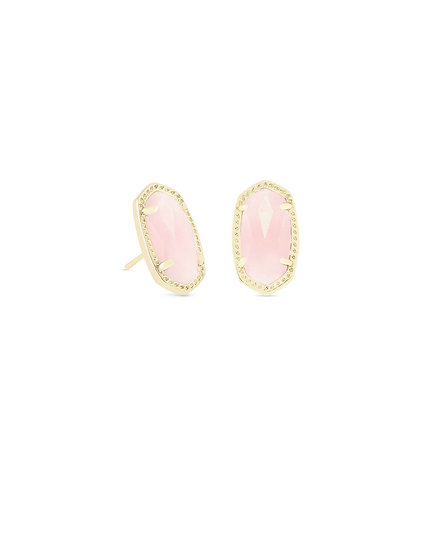 Ellie Gold Stud Earrings In Rose Quartz