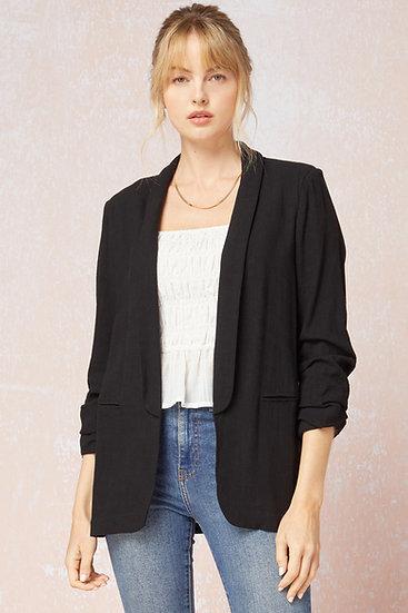 Your Go To Black Linen Blazer