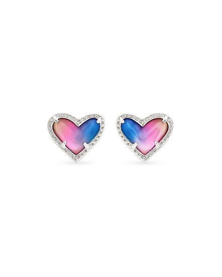Ari Heart Silver Stud Earrings In Watercolor Illusion