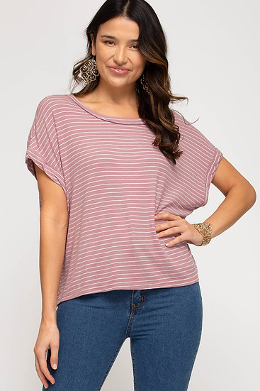 Just For You Mauve Striped Top