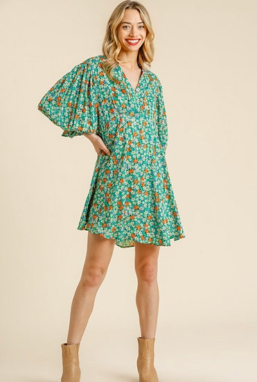 In The Beginning Emerald Green Floral Dress