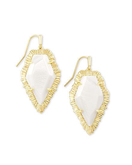 Tessa Gold Drop Earring In White Mussel