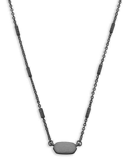 Fern Pendant Necklace In Gunmetal