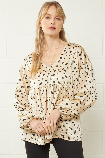 Out On Your Own Cream Dot Blouse