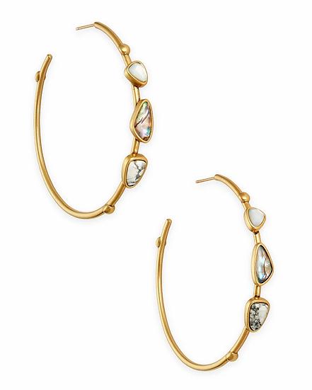 Ivy Vintage Gold Hoop Earrings In White Mix