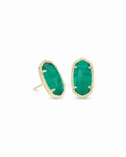 Ellie Gold Stud Earrings In Emerald Cat's Eye - MAY