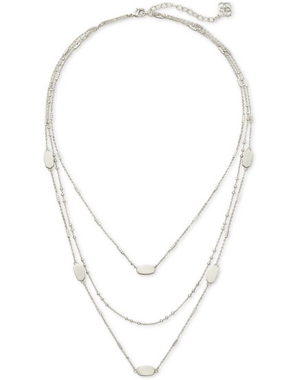 Fern Triple Strand Necklace In Bright Silver