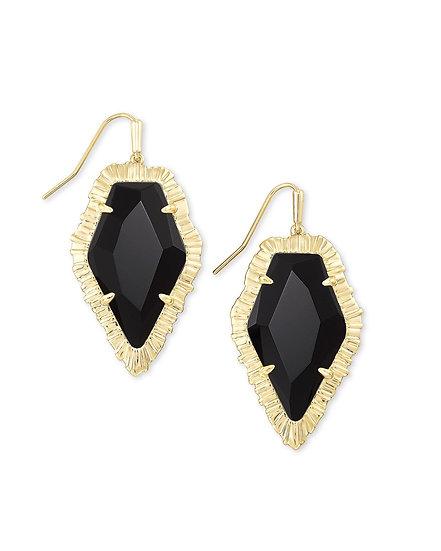 Tessa Gold Drop Earring In Black Obsidian