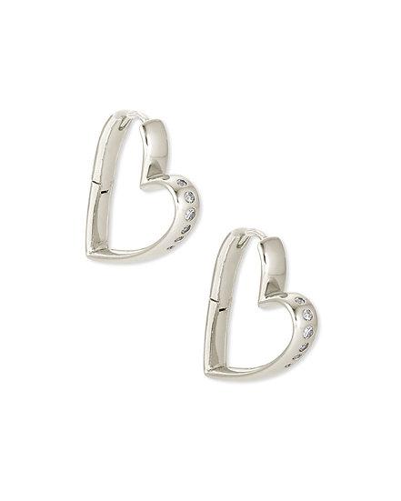 Ansley Small Hoop Earring Rhodium Metal White CZ