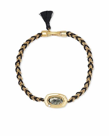 Anna Vintage Gold Friendship Bracelet In Black Pyrite