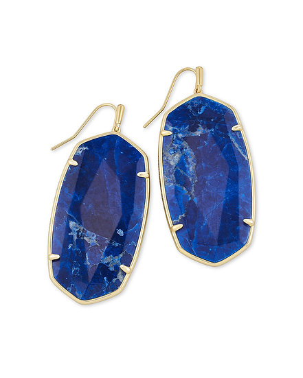 Faceted Danielle Gold Statement Earrings In Cobalt Howlite
