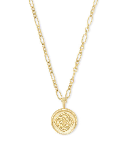 Dira Coin Pendant Necklace In Gold Metal