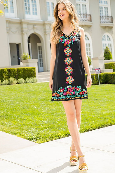 Prized Possessions Black Embroidered Dress