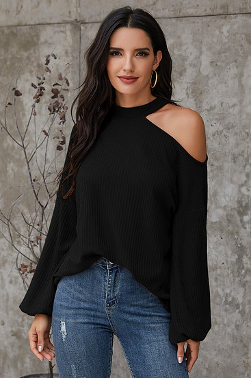 Cypress Embossed One Shoulder Blouse - Black