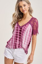 Only Angel Tie Dye Top - Berry