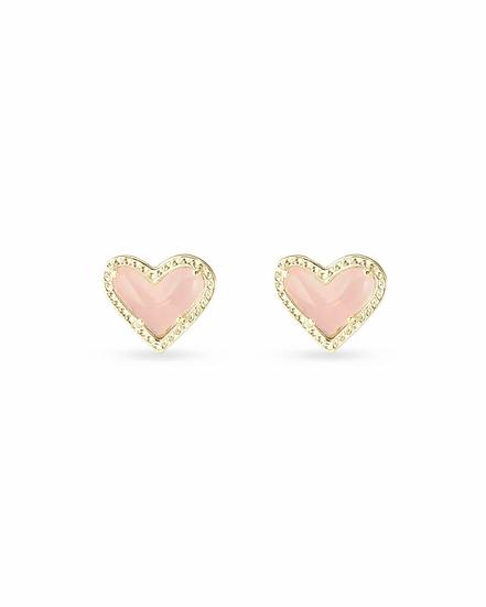 Ari Heart Gold Stud Earrings In Rose Quartz