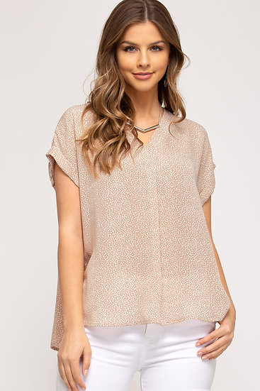 Just Be Yourself Rose Polka Dot Top
