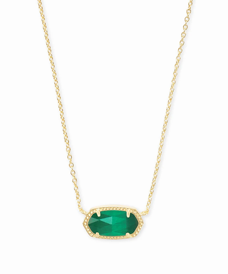 Elisa Gold Pendant Necklace In Emerald Cat's Eye - MAY