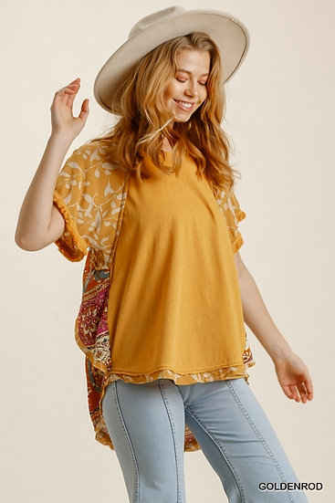 Just A Thought Goldenrod Floral Blouse