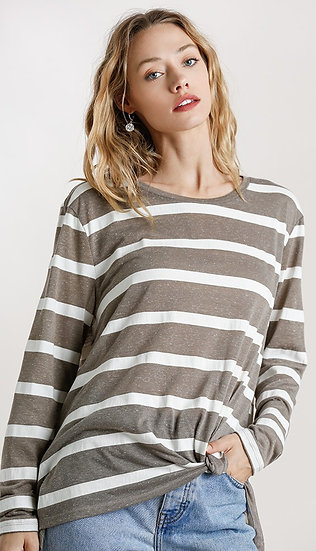 Taupe & White Striped Round Neck Long Sleeve Top with Front Gathered Detail