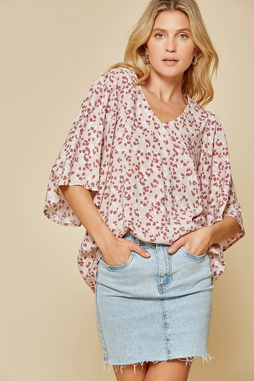 Found Your Sweetness Mauve Polka Dot Top