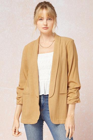 Your Go To Camel Linen Blazer