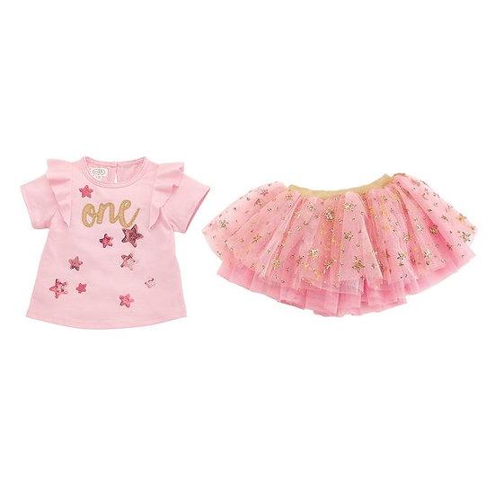 First Birthday Birthday Tee & Pink Sequin Tutu Set