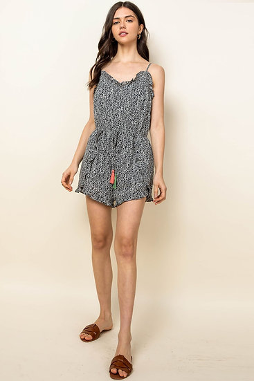 Zoned In Black Dotted Romper