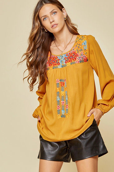 Effortless Success Embroidered Top -Marigold
