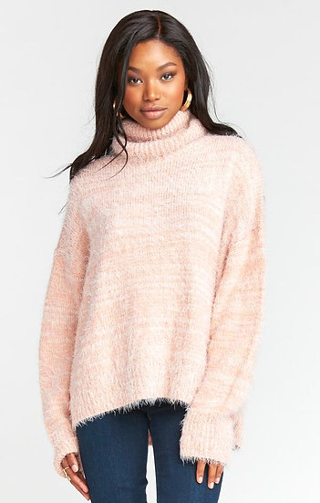 Fuzzy Pink Knit Turtleneck Sweater (Show Me Your Mumu)