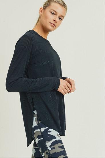 Ribbed Mesh Long Sleeve Top - Black