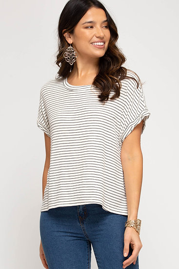 Just For You Off White Striped Top