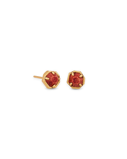 Nola Vintage Gold Stud Earrings In Burnt Sienna