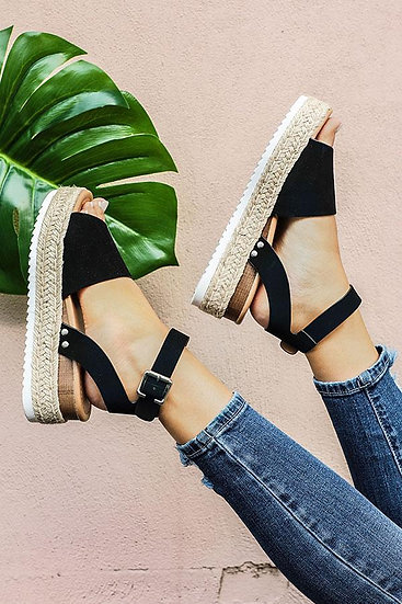 Vacay Black Platform Sandals