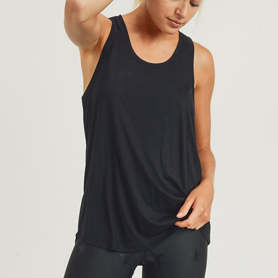 Just Be Yourself Black Open Overlay Tank Top