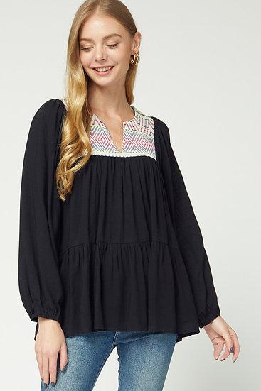 Desert Folk Embroidered Top - Black