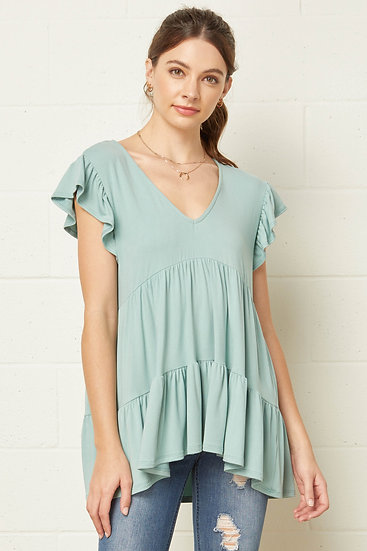 At This Level Seafoam Babydoll Top