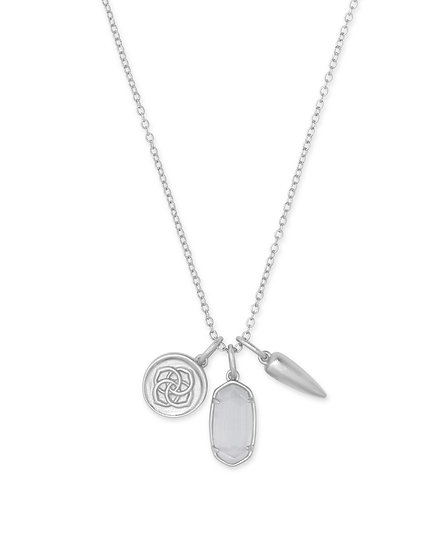 Dira Coin Charm Necklace In RHOD Slate Cat's Eye