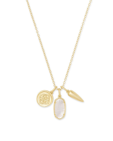 Dira Coin Charm Necklace In Gold Ivory MOP