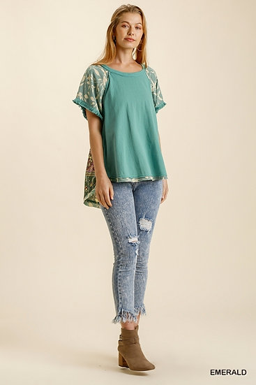 Just A Thought Emerald Floral Blouse
