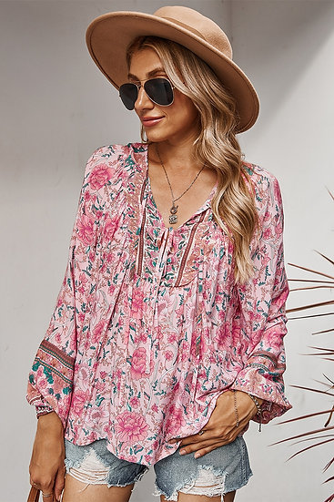 Whole New World Floral Top - Pink