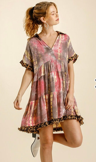 Keep Your Cool Coral/Mocha Tie Dye Dress