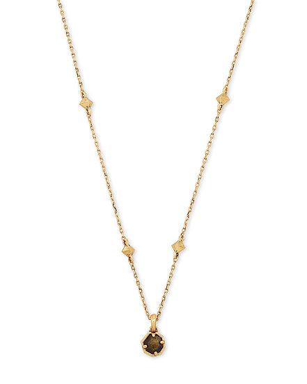 Nola Vintage Gold Short Necklace In Golden Obsidian