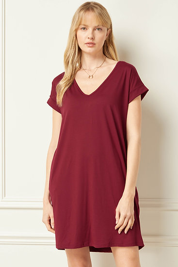 Off To A Good Start Wine T-shirt Dress