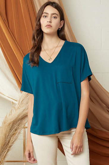 On The Lookout Teal Pocket Top