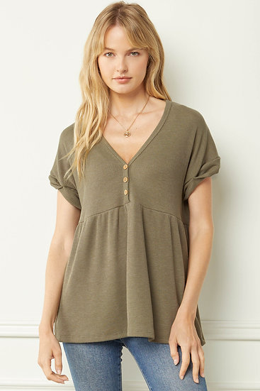 Play Your Cards Right Light Olive Button Detail Top