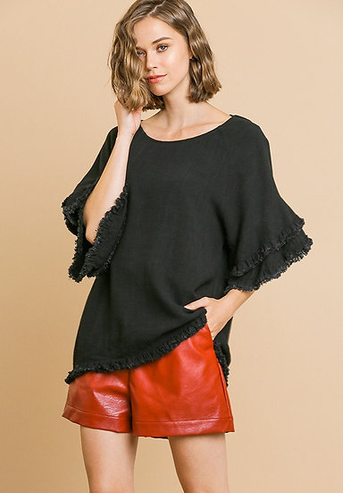 Create Your Own Happy Ruffle Top - Black