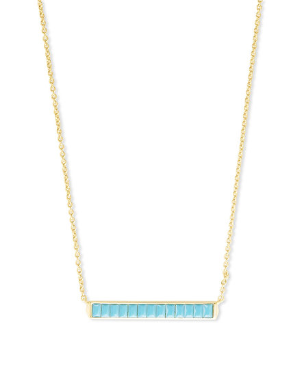 Jack Gold Pendant Necklace In Turquoise Crystal