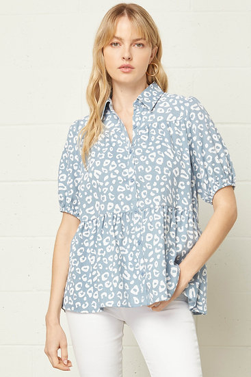 On A Mission Light Blue Spotted Leopard Top