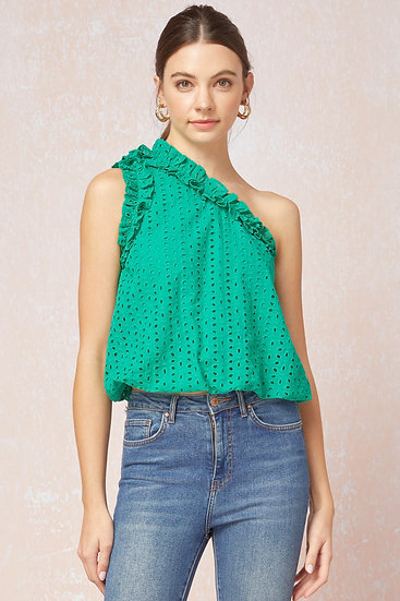 Who's That Girl Green One Shoulder Eyelet Top